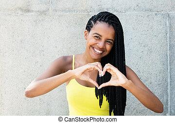 hjärta, kvinna, kärlek, visande, räcker, dreadlocks, amerikan, afrikansk
