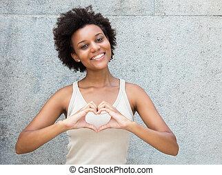 hjärta, kvinna, kärlek, visande, räcker, ung, amerikan, vuxen, afrikansk