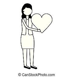 hjärta, kvinna räcka