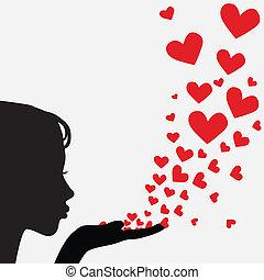 hjärta, kvinna, silhuett, blåsning