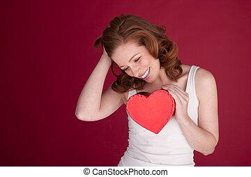 hjärta, kvinna, skratta, holdingen