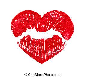 hjärta, kyssande, form, läpp