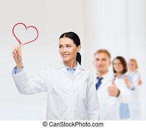 hjärta, le, kvinnlig, pekande, läkare