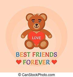 hjärta, leksak, illustration, vektor, björn, räcker, hålla