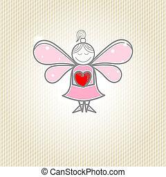 hjärta, litet, fe, räcker