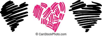 hjärta, love., illustration.