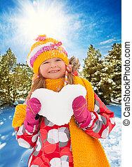 hjärta, lysande, flicka, snö