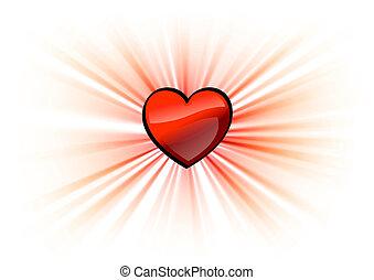 hjärta, lysande