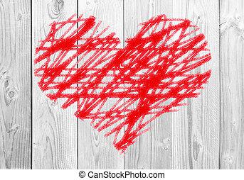 hjärta, målad, trä, bakgrund, vit röd