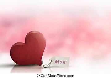 hjärta, meddelande, dag, röd, fostrar