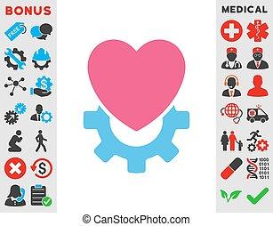 hjärta, mekanisk, ikon