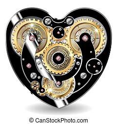 hjärta, mekanisk, steampunk