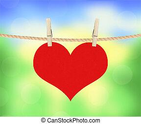 hjärta, natur, över, hänga, suddig fond, röd, klädnypor