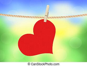 hjärta, natur, över, klädnypa, hänga, lysande, bakgrund, röd