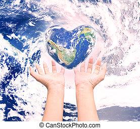 hjärta, naturlig, background:, möblera, detta, över, suddig, form, nasa, hälsa, människa lämnar, värld, kvinnor, avbild, dag