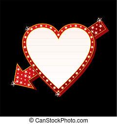 hjärta, neon