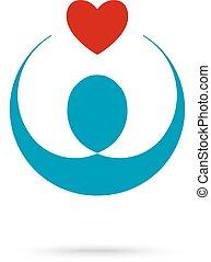 hjärta, non, grundande, profit, symbol, mall, räcker, ikon, logo