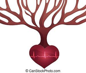 hjärta, normal, bulta, abstrakt, träd, form, rytm, rötter