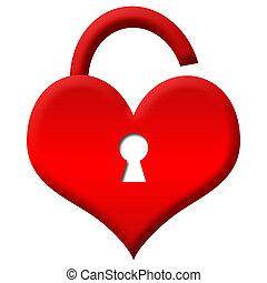 hjärta, olåst, -, låsa, röd, form