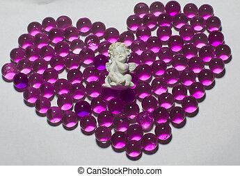 hjärta, pärlhalsband, purpur, hydrogel, form