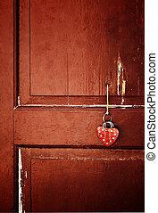 hjärta, på, a, dörr