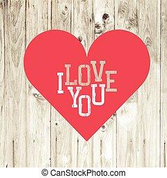 hjärta, på, trä, bakgrund., vector.