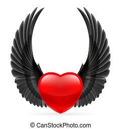 hjärta, påskyndar, uppe