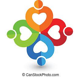 hjärta, papper, teamwork, logo