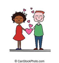 hjärta, par, hålla, kärlek, form
