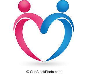 hjärta, par, kärlek, beräknar, logo
