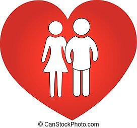 hjärta, par, kärlek, symbol, logo