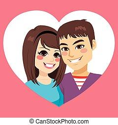 hjärta, par, valentinbrev