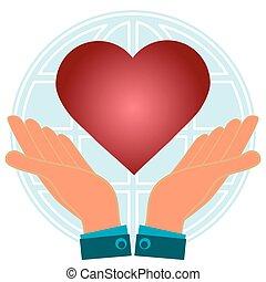 hjärta, peace., globe., kärlek, bakgrund, räcker, värld, röd