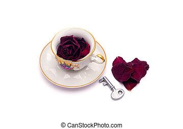 hjärta, petals, ro, nyckel, te