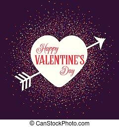 hjärta, pil, valentinkort, bakgrund, konfetti, dag