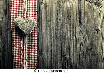hjärta, pläd väv, stor, -, ved