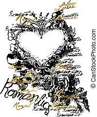 hjärta, prydnad, emblem, rulla, inbillning
