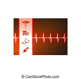 hjärta, pulsera, medicinsk, bakgrund, ikonen, beskatta