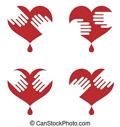 hjärta, räcker, den, mänsklig, ikonen
