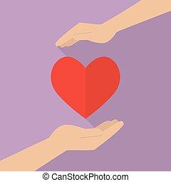 hjärta, räcker, holdingen, ikon