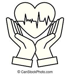 hjärta, räcker, kardiologi