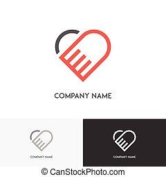 hjärta, räcker, logo