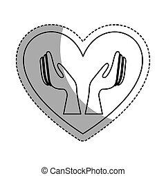 hjärta, räcker, mänsklig, ikon