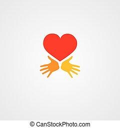hjärta, räcker, symbol
