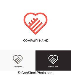 hjärta, räcker, två, logo