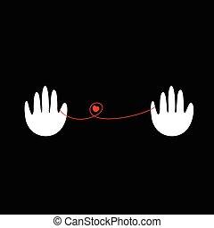 hjärta, räcker, vektor, logo
