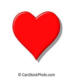 hjärta, röd, 3