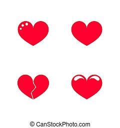 hjärta, röd, ikonen