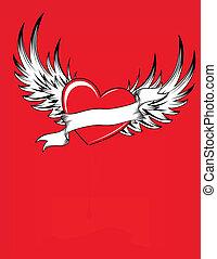 hjärta, röd, kylig
