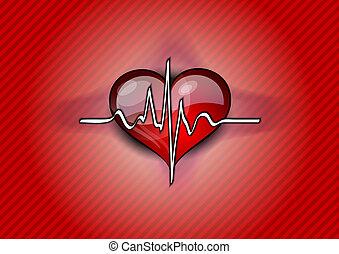 hjärta, röd, pulsera